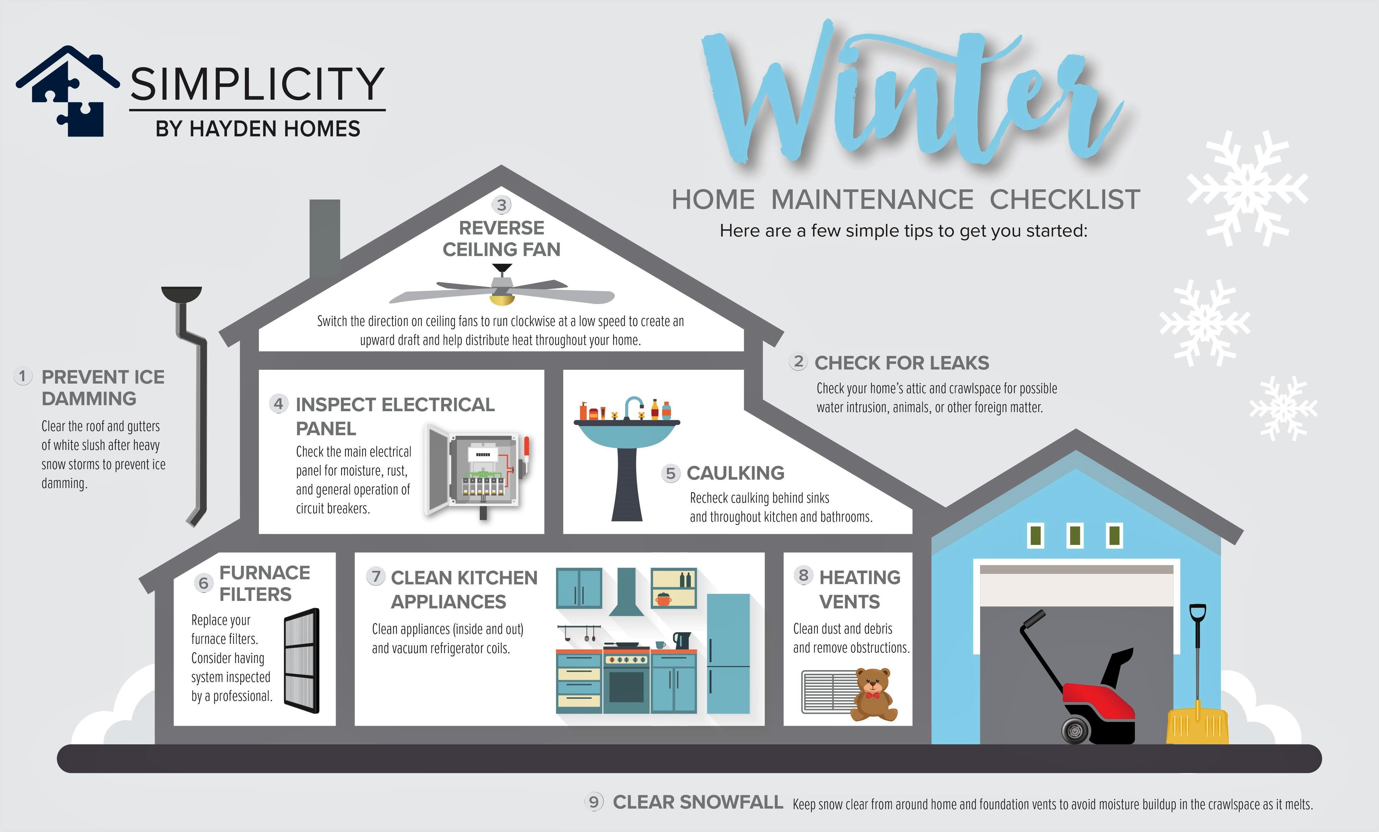 Winter home maintenance checklist infographic